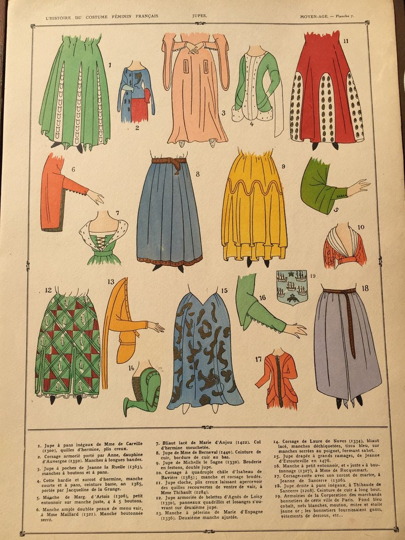 French Court Aristocracy Past Century Hand Painted Clothing Style Book 1037 1461 Fashion