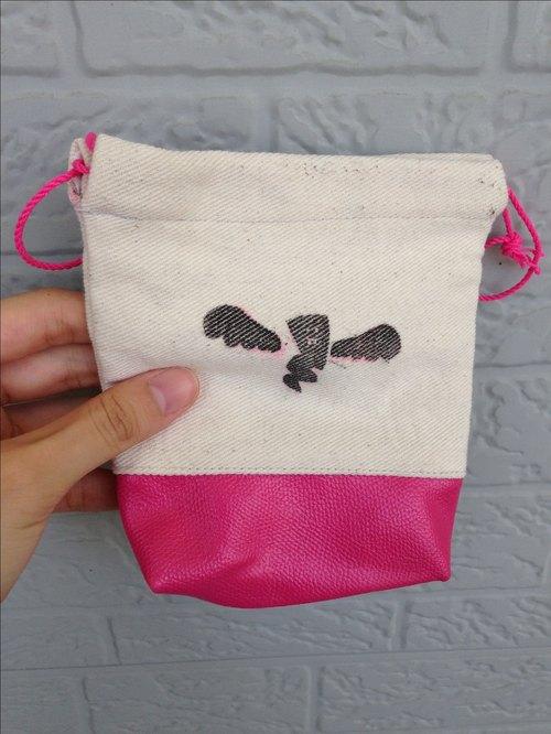 皮布+麻布+棉布 超級拼布束口袋