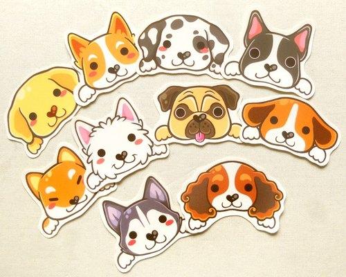 狗狗贴纸组10入[亮模] - 可爱宠物贴纸 - 小狗贴纸 - 手绘贴纸 - cute