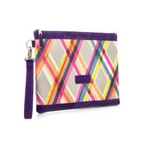 Graphic Textile mix Leather Clutch Bag│Multiple Color
