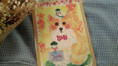 柯基明信片 手绘水彩印刷卡