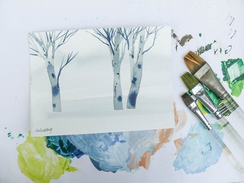 「疗愈系树林系列1-13」水彩手绘限量版明信片/圣诞卡
