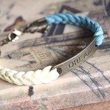 夢想起飛 古銅DREAM--字牌韓國絨手環