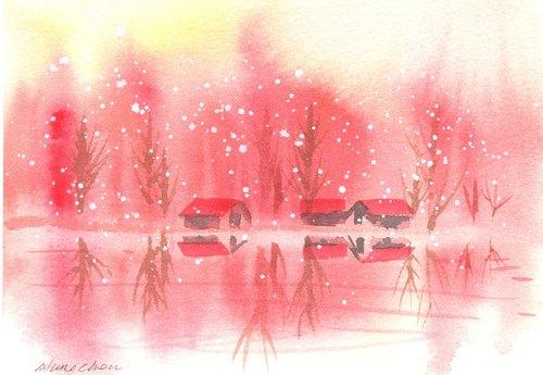 """圣诞节""""疗愈系树林系列1-82""""水彩手绘限量版明信片"""