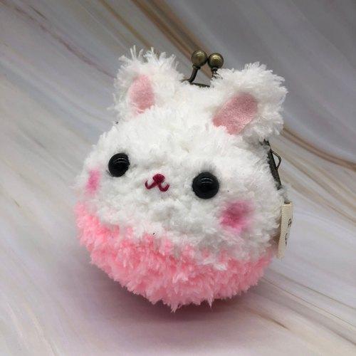 毛线编织动物零钱包 口金包-白兔儿