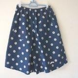 泡泡圓點牛仔五分褲裙(淺藍/深藍)