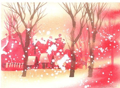 「疗愈系树林系列1-134」水彩手绘限量版明信片/贺卡