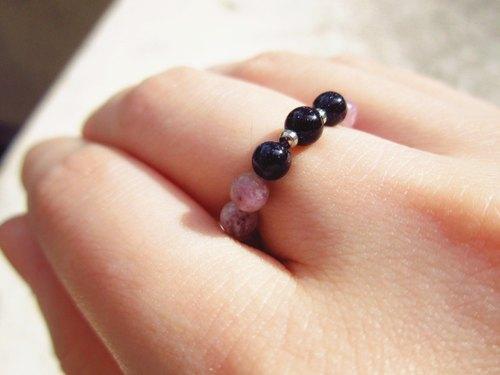 小小的系列【奼紫】戒指 ‧ 紫星石 x 藍砂石 - Caterpillar. Stone