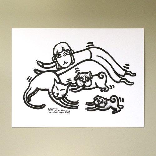 明信片黑白系列- 愛倫猴/家庭伸展運動(送小貼紙)