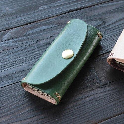 bluecat - rustic 晨树绿 植鞣革染真皮革手工手缝 四勾 钥匙包