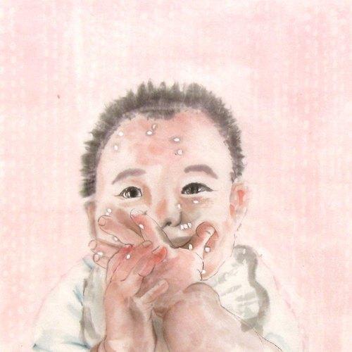 定制手绘水墨画像-赤子心之宝宝爱吃饭-30x30cm画心