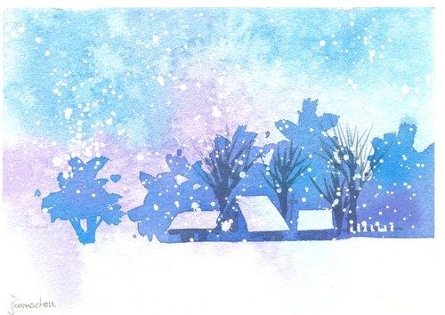 """圣诞卡片""""疗愈系树林系列1-99""""水彩手绘限量版明信片"""