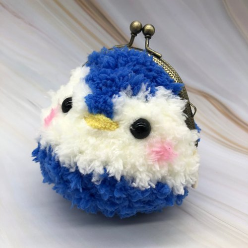 毛线编织动物零钱包 口金包-企鹅