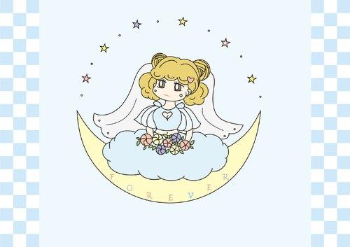 女孩坐在月亮上