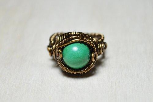 新疆绿松石设计大戒指-金属线/手工/水晶/铜线