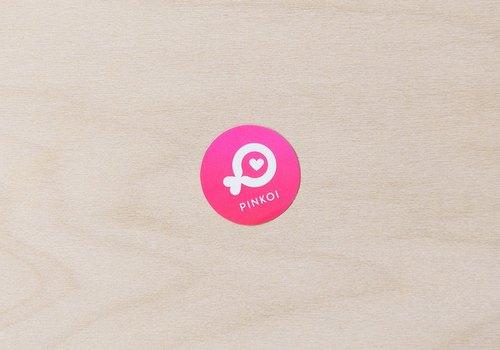 粉紅色 Pinkoi 小魚小型圓貼紙