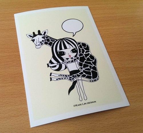 黑白动物线描画长颈鹿