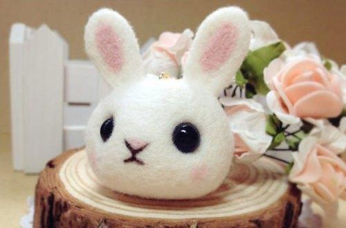 pets 爱宠物】纯手作 超萌疗愈系羊毛毡 粉红兔兔
