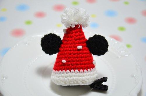毛线编织 米奇圣诞帽发夹