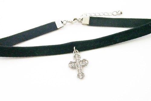 Black velvet choker / necklace with cross charm.
