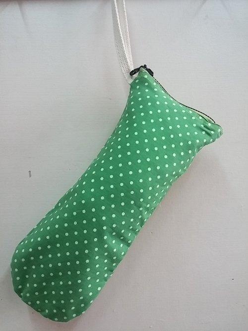 4吋 绿底白色小圆点 黑色拉鍊 简约可爱风格 手工印花