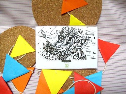 黑白手绘风明信片/万用卡a003