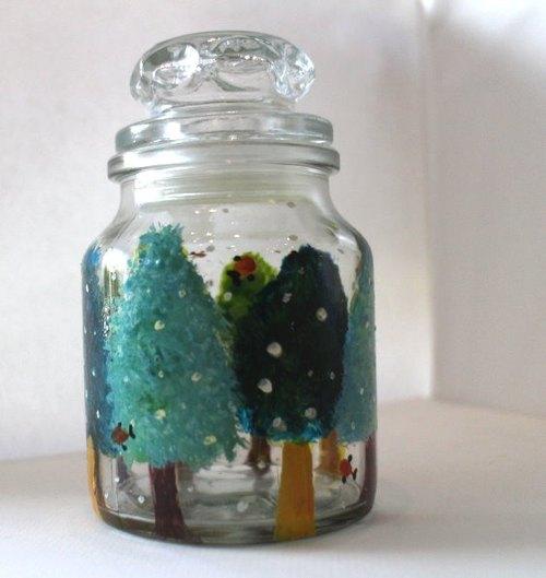 手绘玻璃瓶之花树林