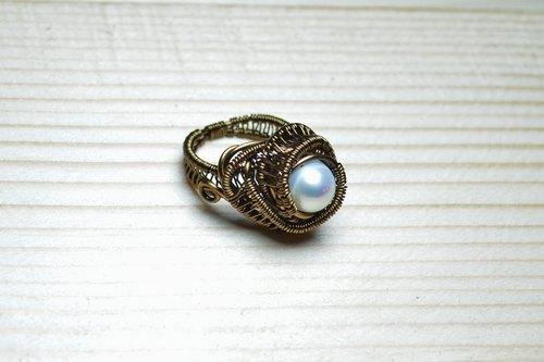 珍珠编织戒指-金属线/纯手工/水晶/铜线