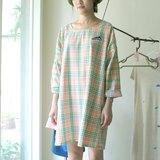漂亮的棉麻格紋/藍山刺繡 圓領舒服長版寬寬洋裝