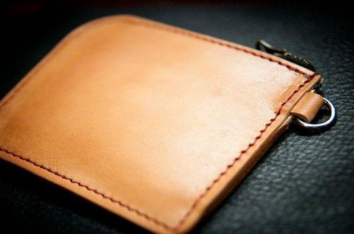 义大利植鞣革简易短夹,零钱包