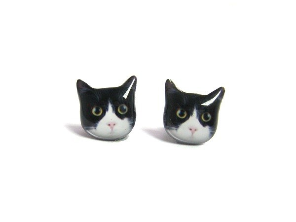 Lovely Eyes Black And White Shorthaired Cat Earrings A025er C13