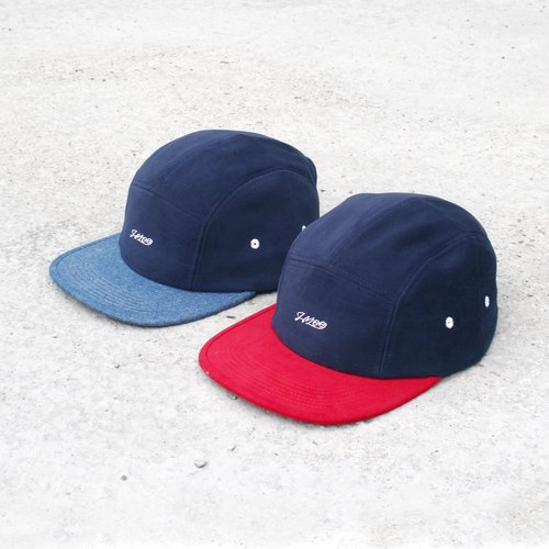 """""""H-ZOO"""" 雙色五分割帽 - 單寧x深藍、紅x深藍"""