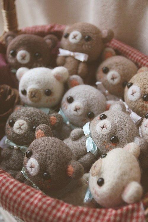 可爱森林彩虹生日小熊羊毛毡娃娃 - 跷跷脚—cc-tt