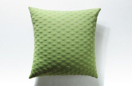 【HousePal】Phoebe圓點緹花針織布彈力沙發靠墊套(抱枕用)(蘋果綠)
