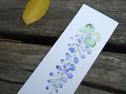 紫藤 手绘水彩书签(原画)