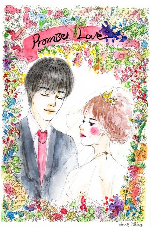 婚礼手绘插画浪漫华丽风custom