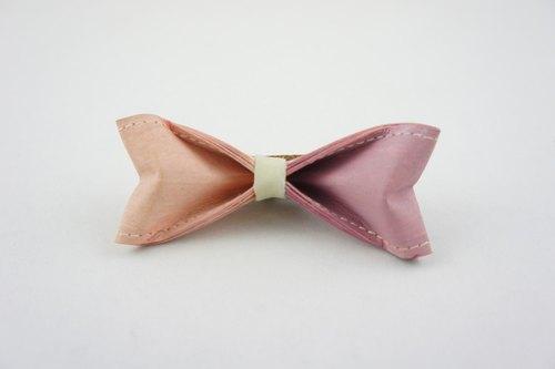 十分设计 手工制作双色领结(纸领结,蝴蝶结,领带)《粉藕双色》【礼物
