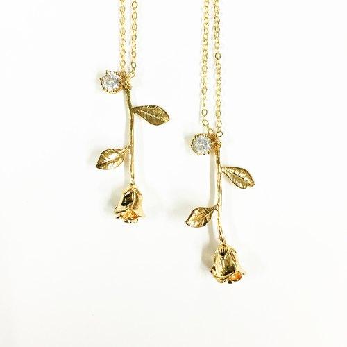 【若桑】小王子的玫瑰花(Le Petit Prince)。鍍24K真金。超閃鋯石。手作 項鍊/項鏈/鎖骨鏈/短鏈