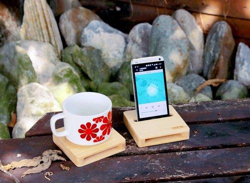 【阿拉斯加扁柏】手機擴音架&方杯墊【Yellow Cedar】Cell Phone Sound Amplifier x Square Coaster