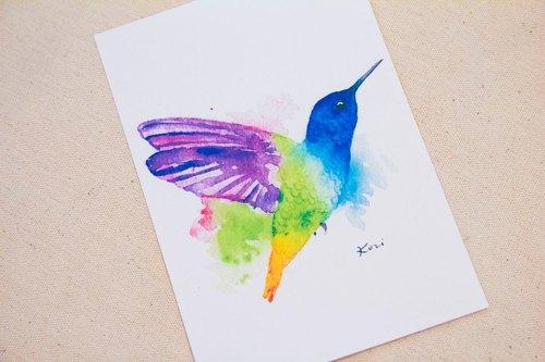 彩色蜂鸟 手绘水彩风格明信片
