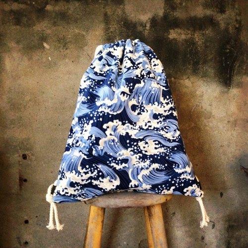 【束口包/後背包/束口袋-日式經典浮世繪風格,雙面雙色款】