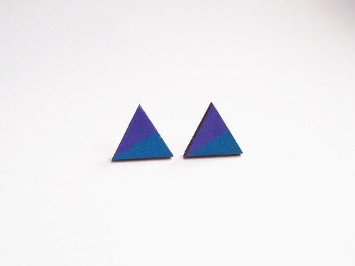 手绘彩色块木制三角耳环