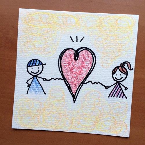 手绘卡片.23—男孩女孩心连心
