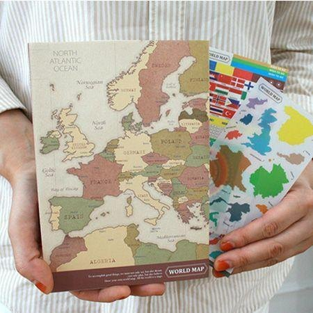 Dessin X Indigo World Map Line Notebook Retro Idg02985