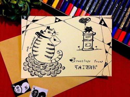 手绘明信卡片-taiwan爱物语