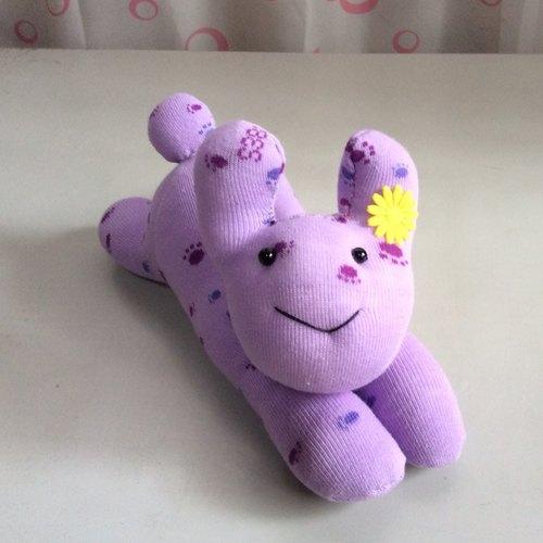 小林~动物造型偶/护腕-b102紫印兔(袜娃娃)