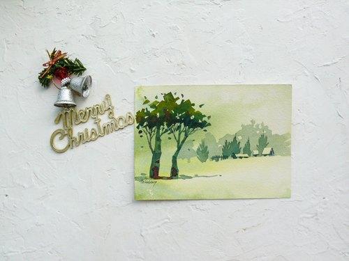 「疗愈系树林系列1-30」水彩手绘限量版明信片/贺卡