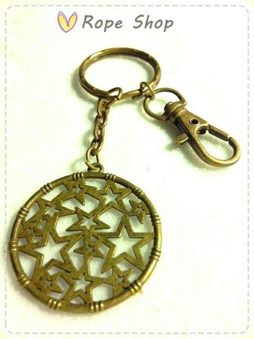 補夢網 星星圖案。古銅 復古色鑰匙圈