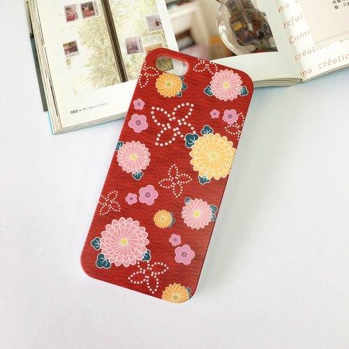 日本红色和服花纹图案