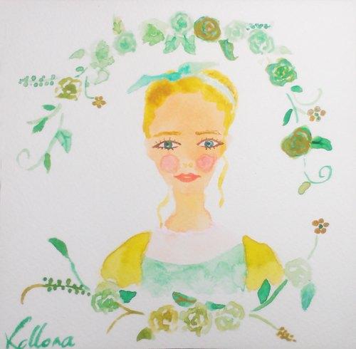 kolloma手绘明信片-莱姆女孩